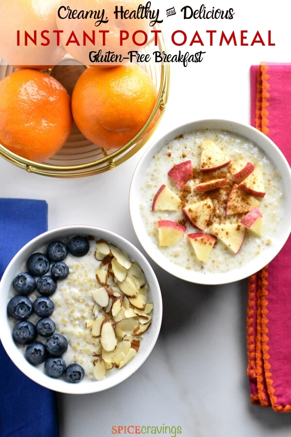 Two bowls of oatmeal with apples and bluberries