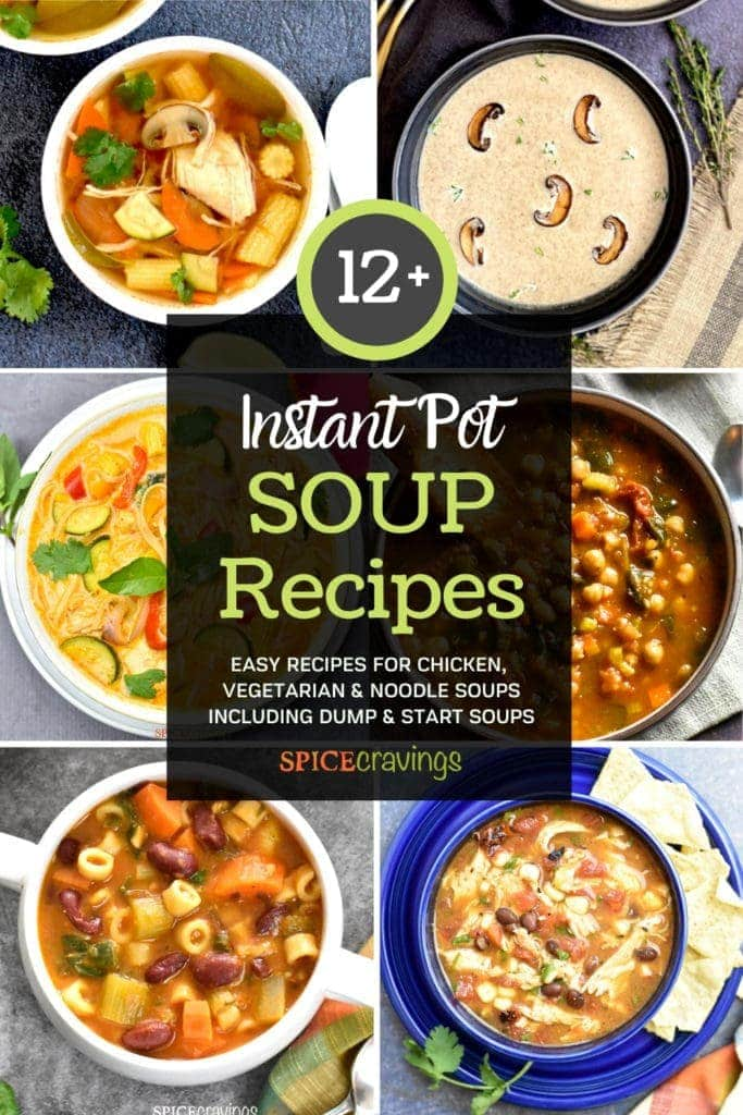 A collection of Instant Pot Soup recipes including chicken, vegetarian and noodle soups
