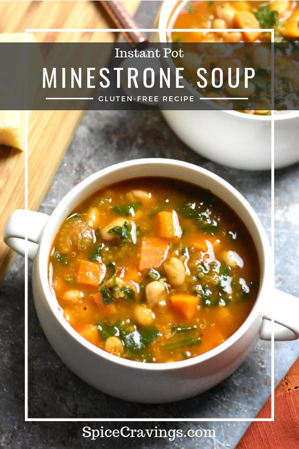 A bowl of gluten-free minestrone soup made with vegetables, beans and quinoa in the instant pot