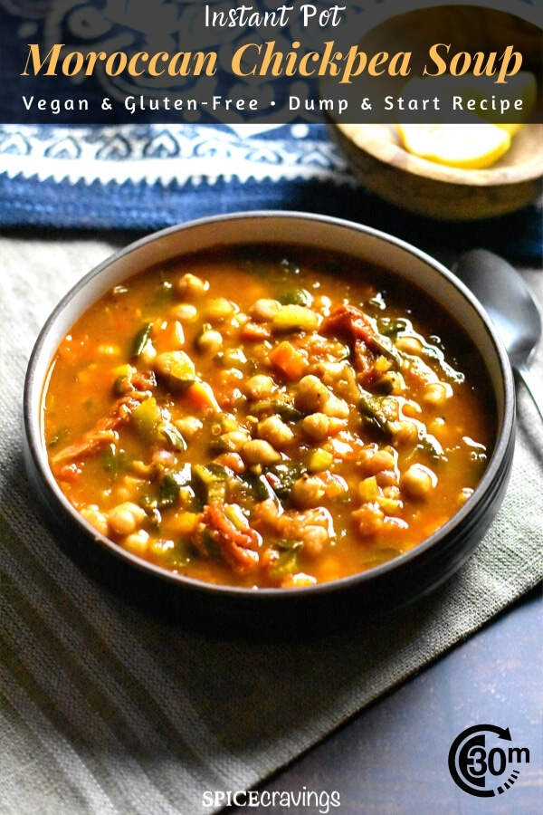 A bowl of moroccan style chickpea soup with spinach and sun dried tomatoes