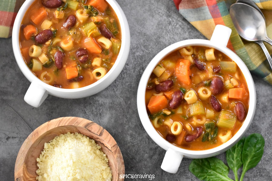 Two bowls of Italian pasta and beans soup called Pasta fagioli