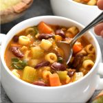 A bowl of chunky and hearty Pasta Fagiole Soup with pasta, beans, carrots and celery