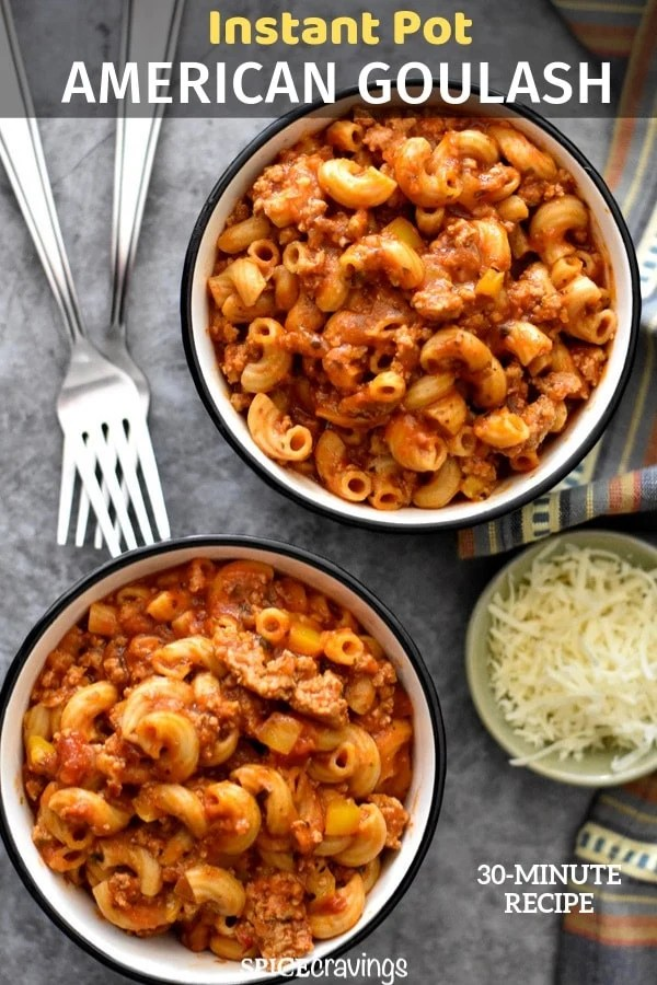 Two bowls of american style goulash