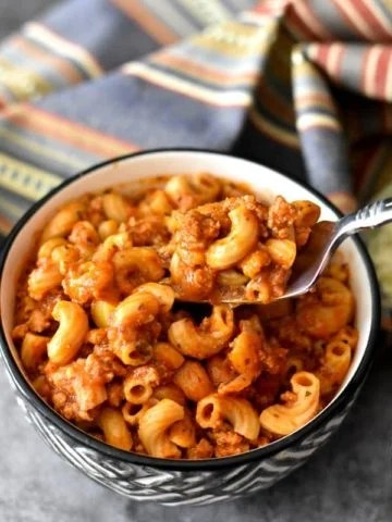 A bowl of American Goulash made with ground turkey and elbow macaroni