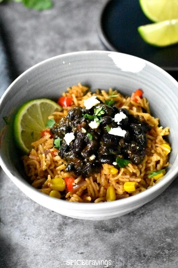 Instant pot Mexican Rice and Beans served in a bowl