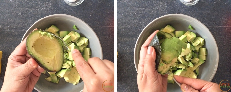 scooping out the avocado chunks with a spoon