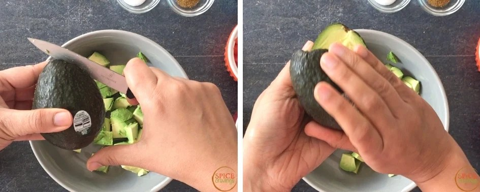 Slicing the avocado around the seeds and rotating to split open