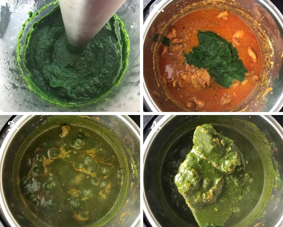 Steps showing how to make Saag Chicken with pureed spinach