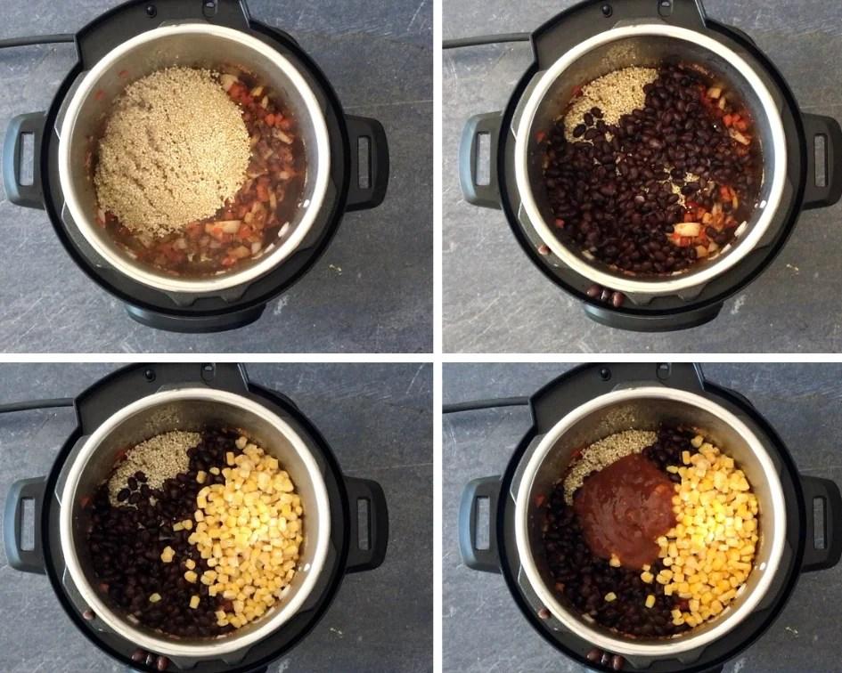 Adding bean, corn, salsa and quinoa in the Instant Pot