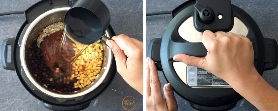 Adding water and pressure cooking quinoa