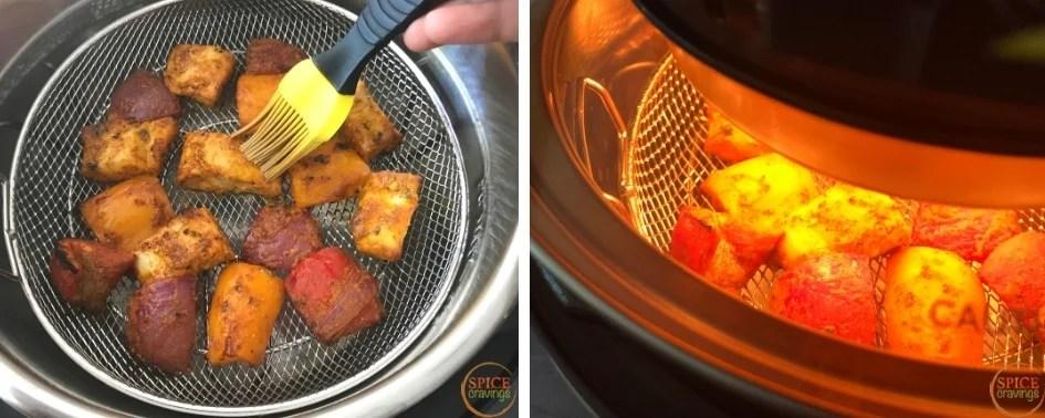 Basting fish tikka with oil half way through cooking
