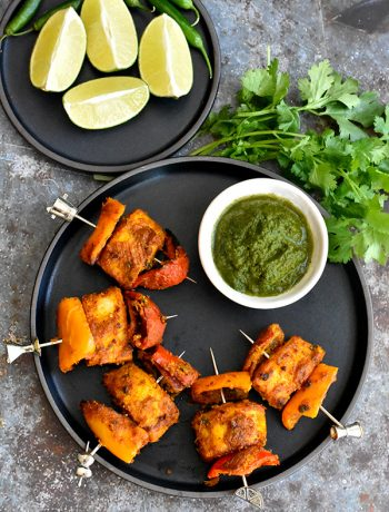Tandoori Fish Tikka with a side of cilantro chutney