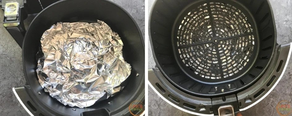 Lining the airfryer basket with aluminum foil