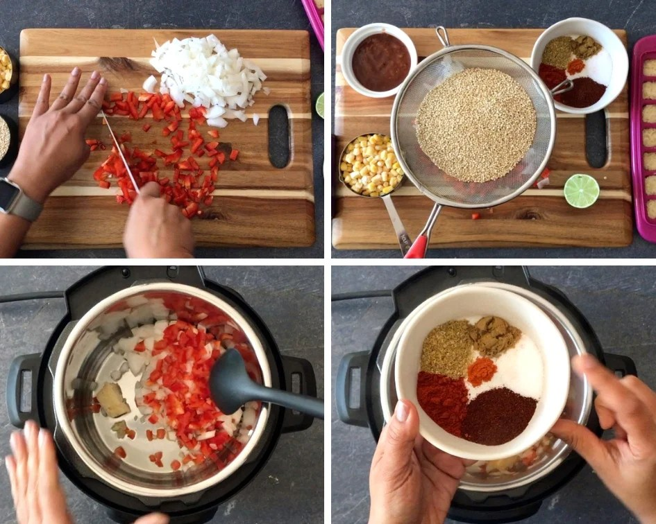 Chopping ingredients and sauteing aromatics in the Instant Pot