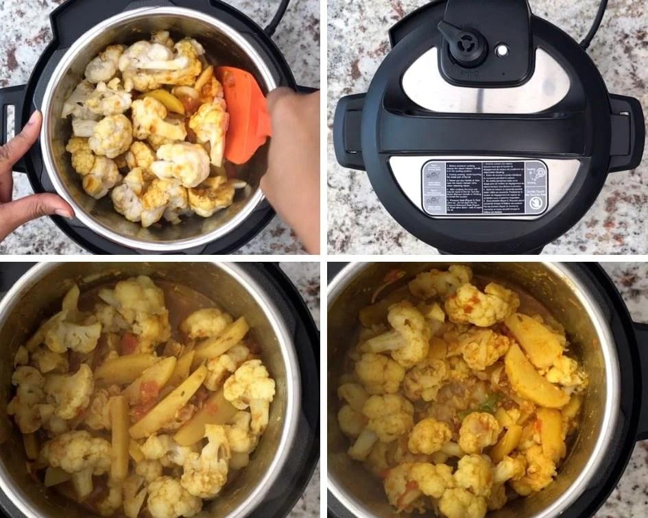 Sautéing cauliflower before pressure cooking