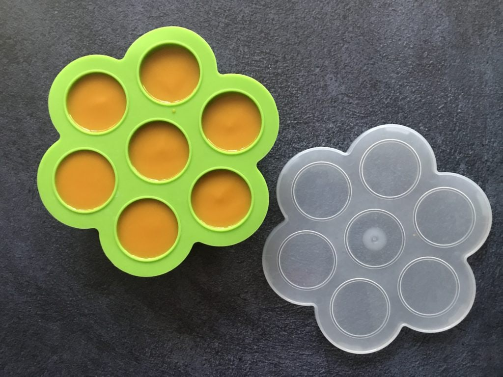 Leftover mango pulp stored in silicone trays