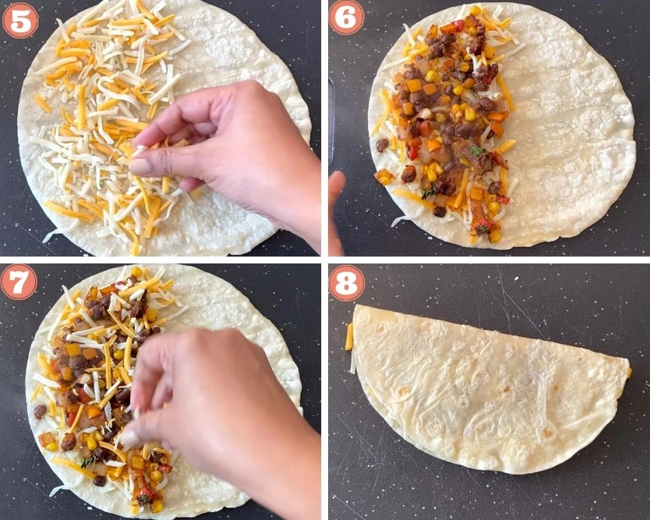 Adding cheese and beans to the tortillas to make Black bean quesadillas