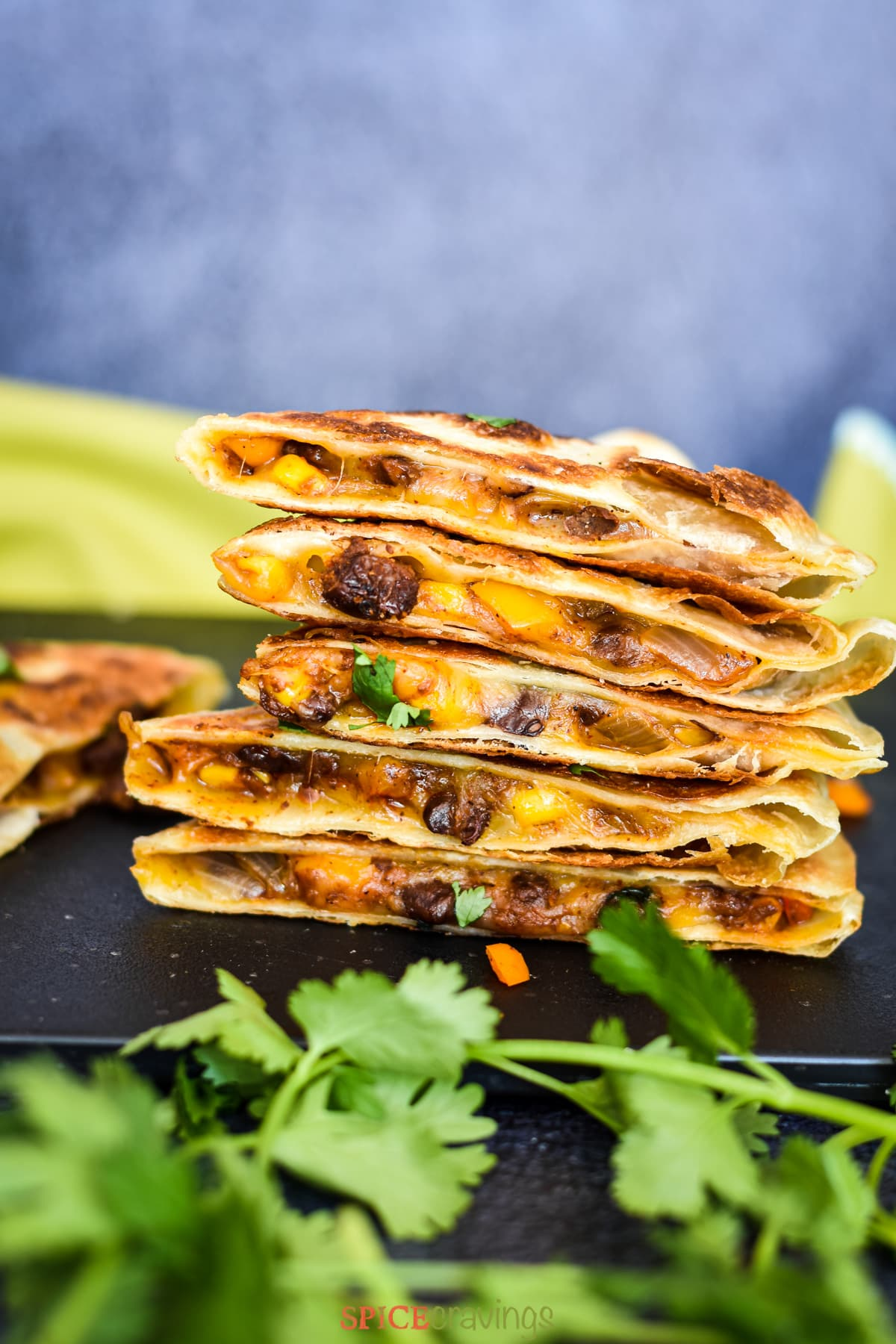 A stack of black bean and corn quesadillas