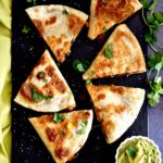 Black Bean quesadillas cut in triangles