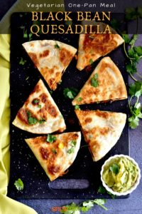 Black Bean quesadillas cut in triangles