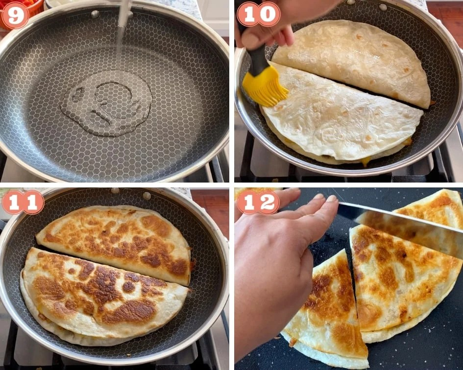Pan frying bean quesadillas and cutting them up