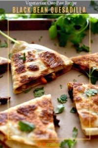 Bean Quesadillas served on parchment paper lined baking sheet