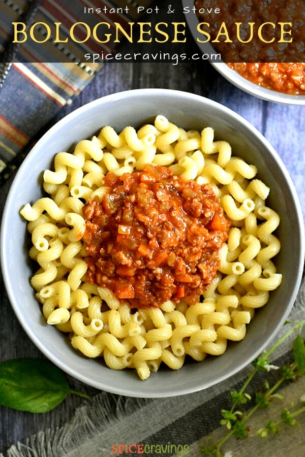 Bolognese sauce served over pasta