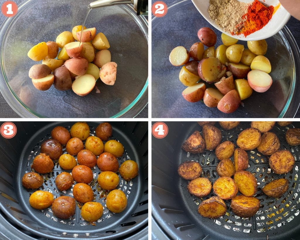 Step by step pictures on how to make bombay potatoes in an Air fryer