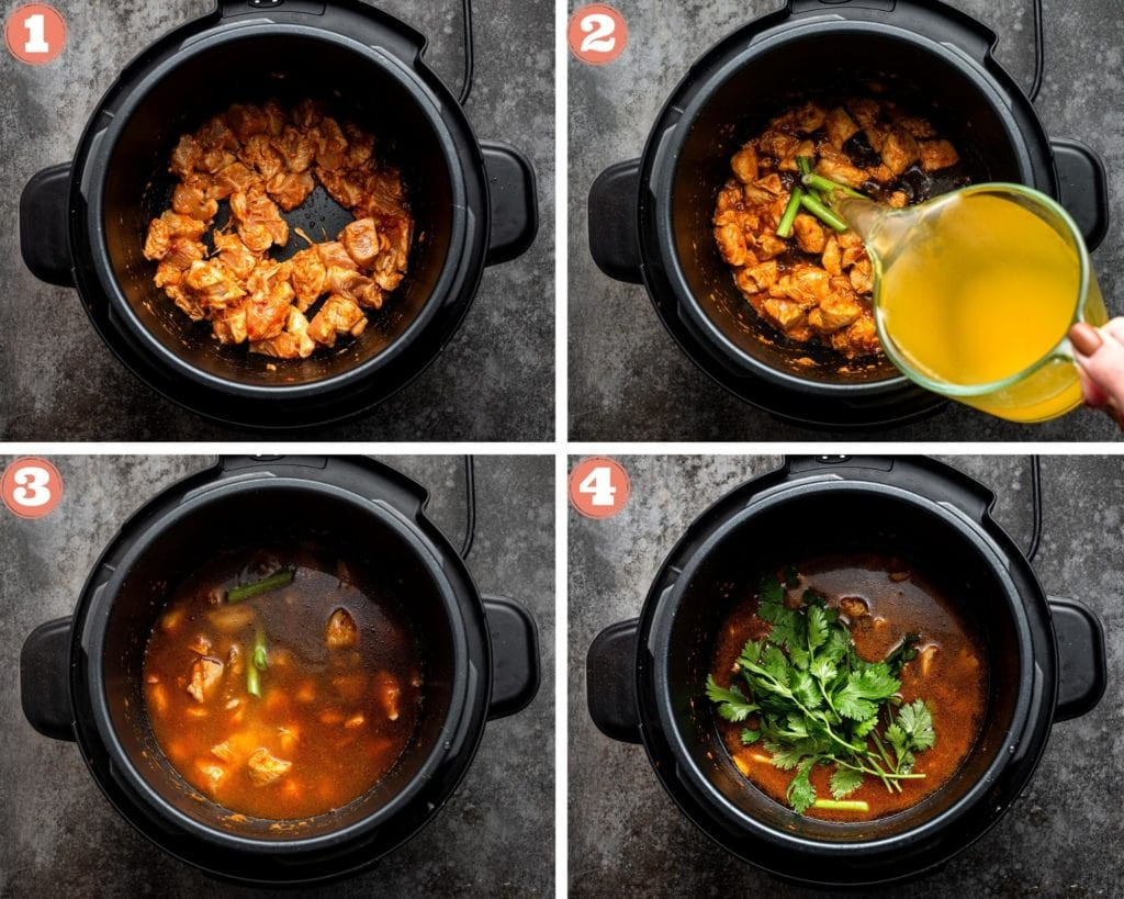 Sauteing chicken in thai curry paste, adding broth to the Instant Pot