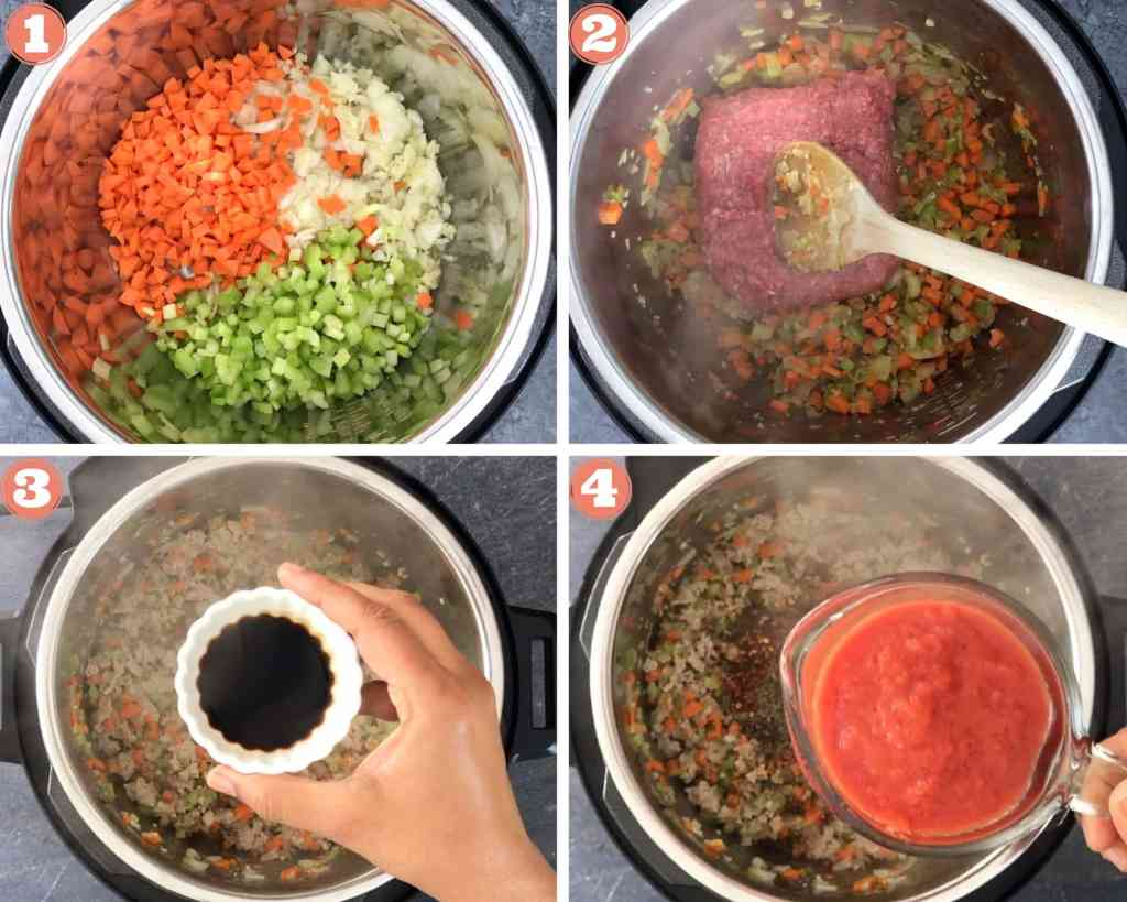 Sautéing veggies, meat in Instant Pot for bolognese sauce