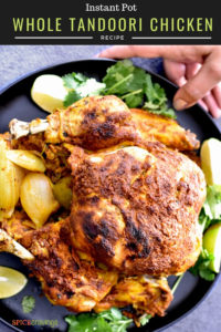 Whole Roast Chicken served with cilantro and lime