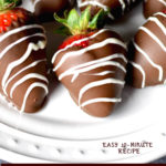 chocolate covered strawberry recipe on white plate with text overlay