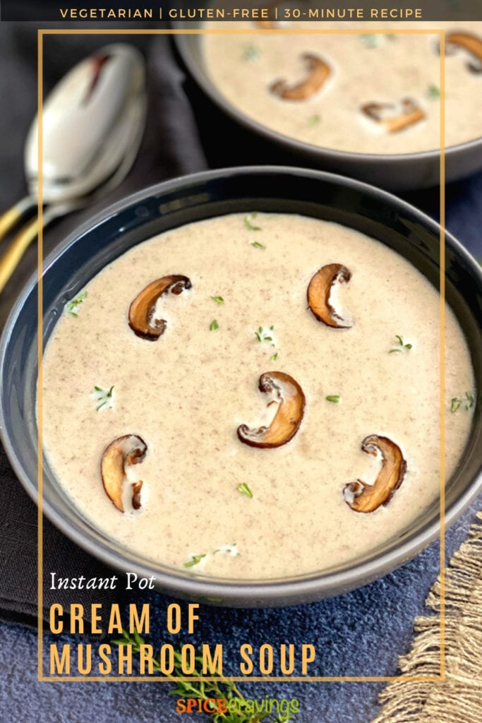 A bowl of creamy mushroom soup garnished with thyme