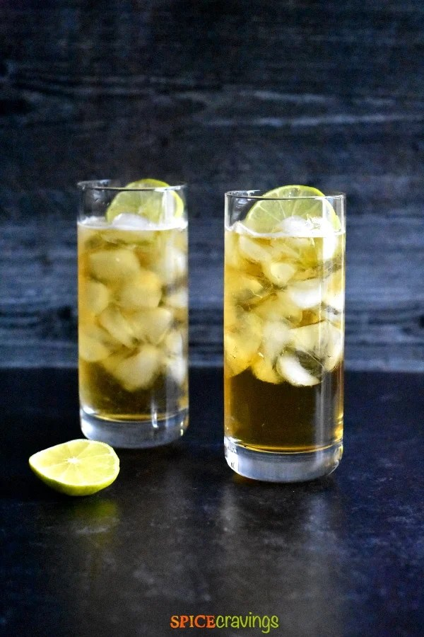 Two glasses of low carb dark and stormy cocktail