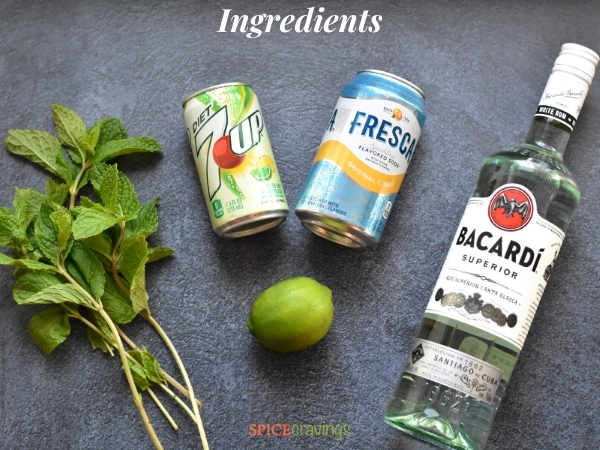 fresh mint leaves, diet 7up, club soda, lime, bacardi bottle