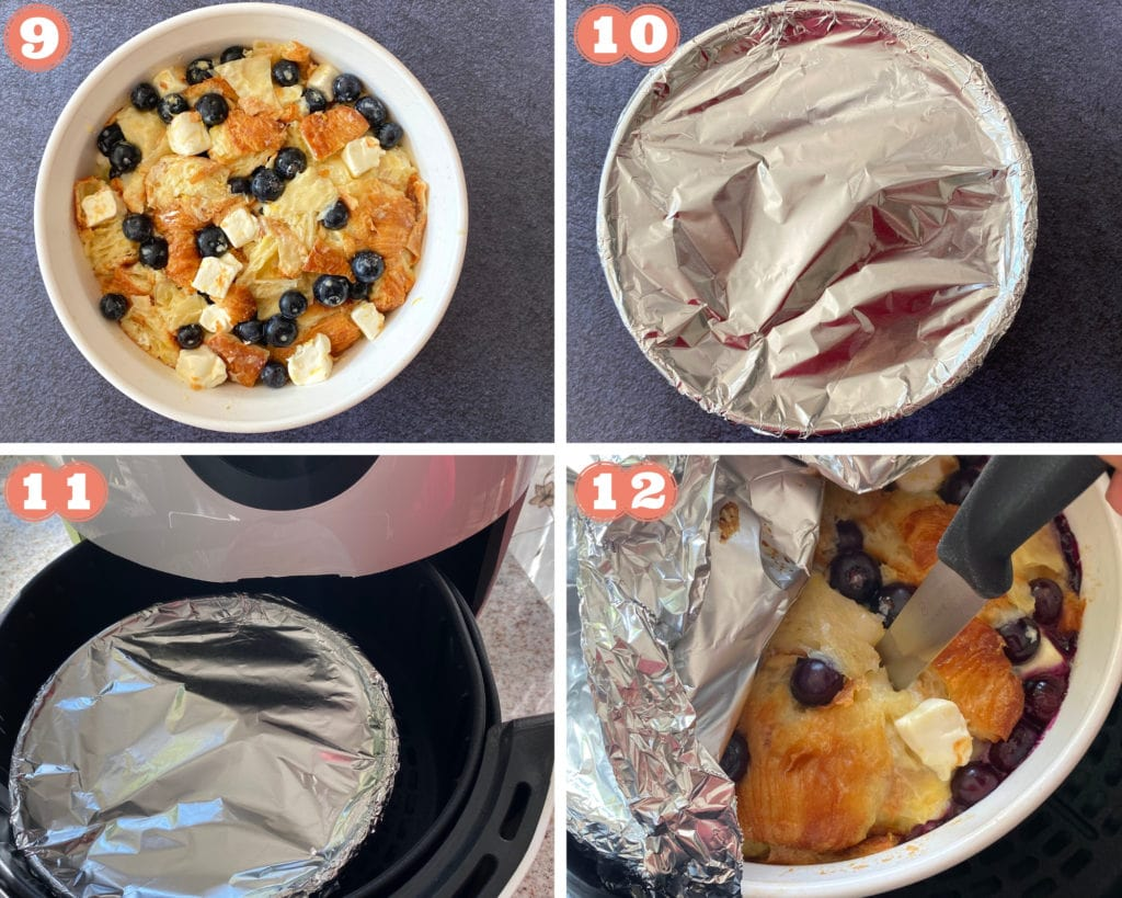 Pictures showing how to bake blueberry bread pudding in an air fryer