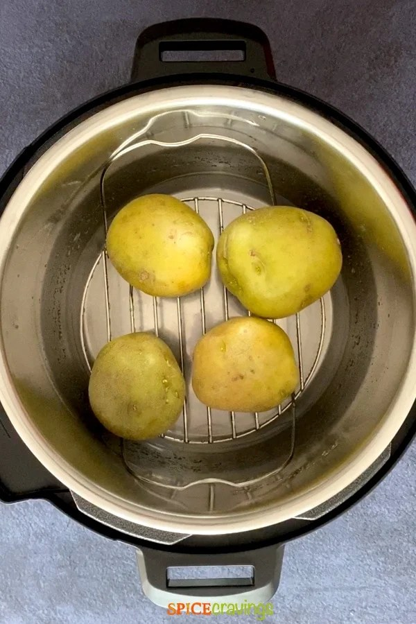 yukon golden potatoes on trivet in Instant Pot