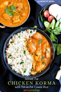 chicken korma with cumin rice in black bowl with fresh cilantro and chicken korma in pot on side