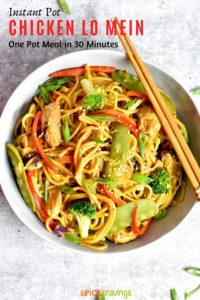 Chicken Lo Mein noodles served with chopsticks