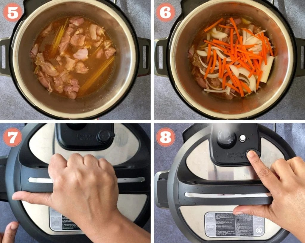 Photos showing how to make Chicken Lo Mein in Instant Pot, steps 5-8