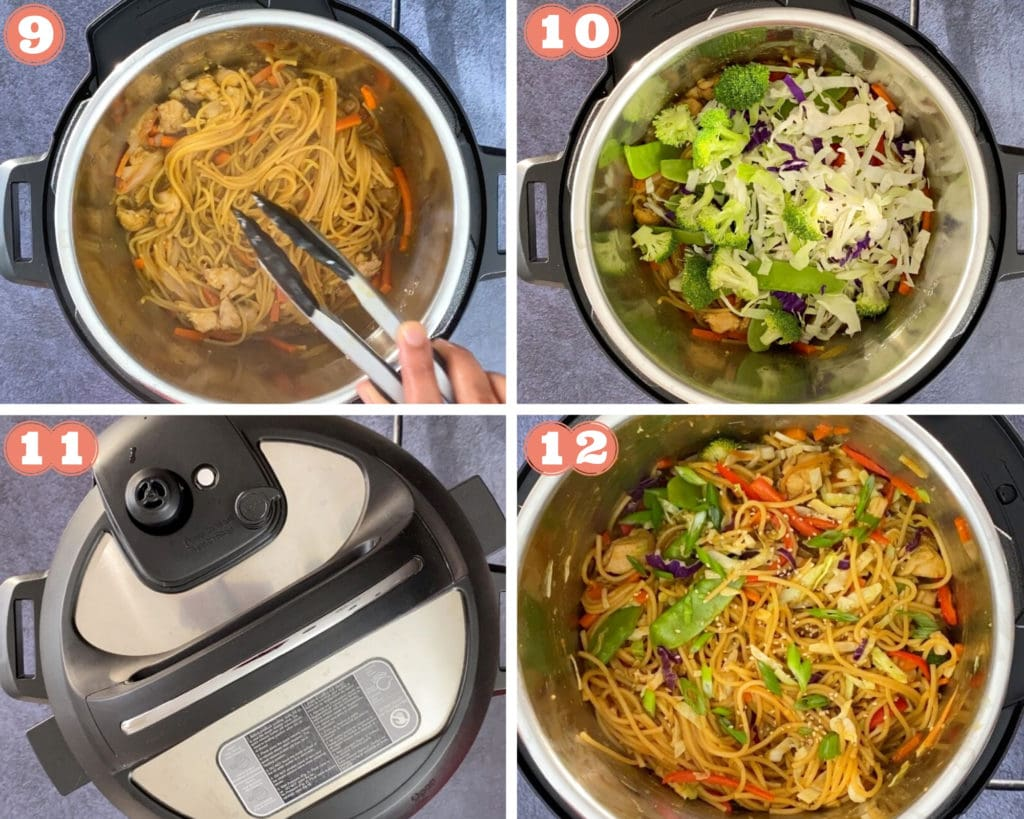 Photos showing how to make Chicken Lo Mein in Instant Pot, steps 9-12