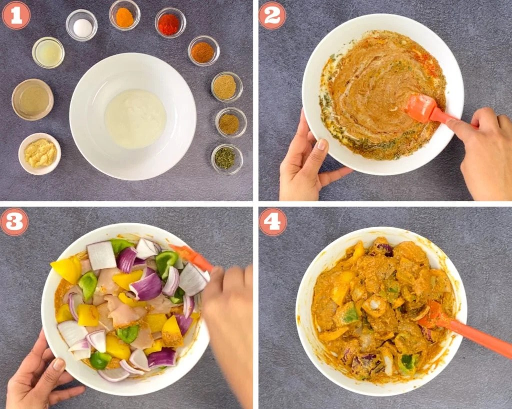 Steps showing how to make the marinade for chicken tikka