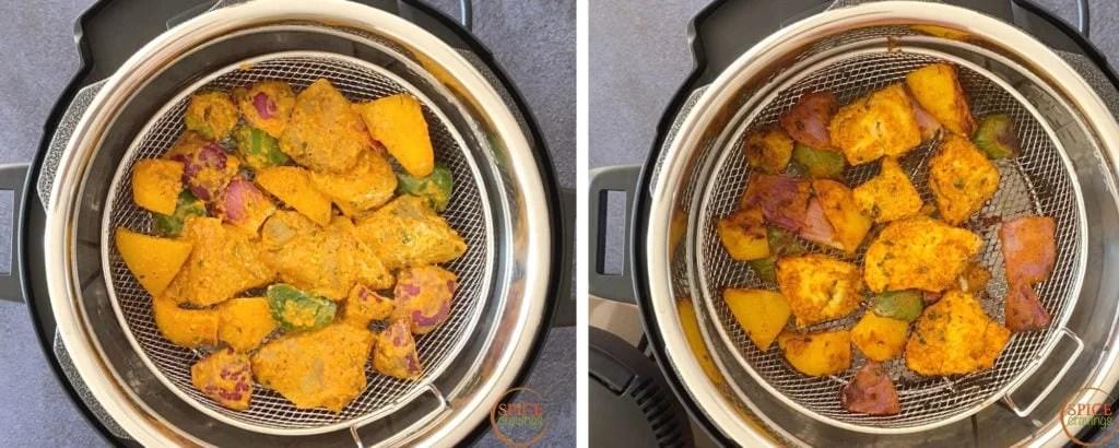 Steps showing crisping chicken tikka using a crisplid