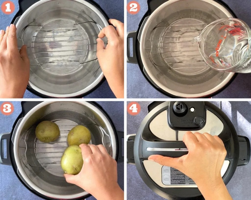 hands placing trivet in Instant Pot, pouring water in Instant Pot, hand placing potatoes on trivet, hand sealing Instant Pot lid