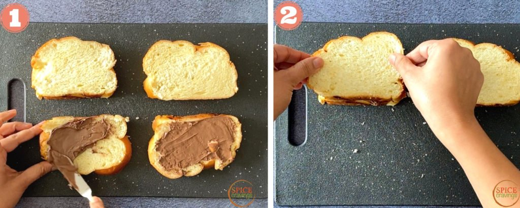 slathering Nutella on Challah slices and making French toast sandwiches