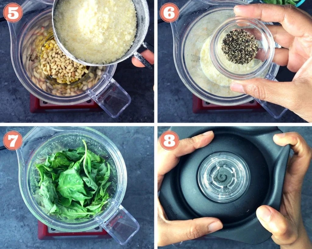 hand holding measuring cup of cheese, hand holding small bowl of black pepper, blender with basil leaves, two hands closing blender with lid