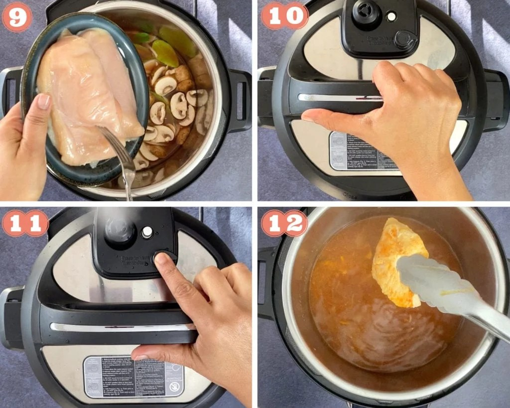 Recipe steps showing adding chicken and pressure cooking in Instant Pot