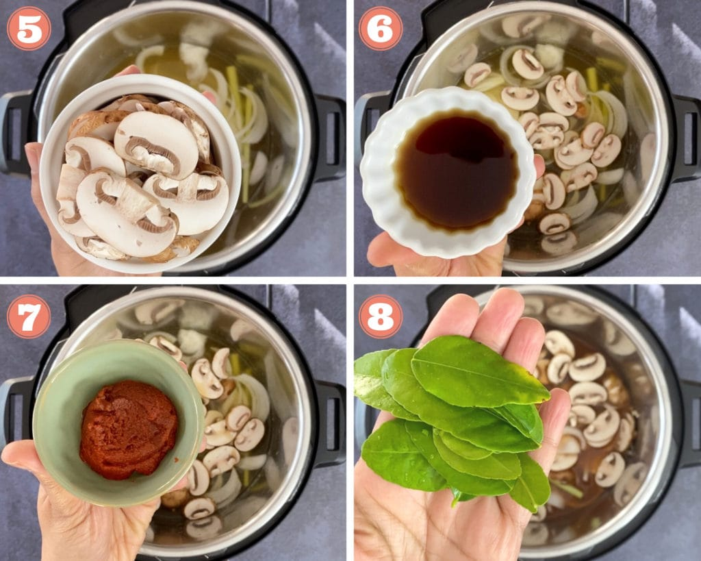 Step by step instructions for Instant Pot Tom Yum Soup