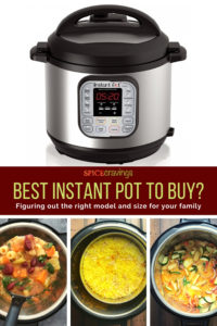 instant pot, soup, rice and stew in bowls of instant pot
