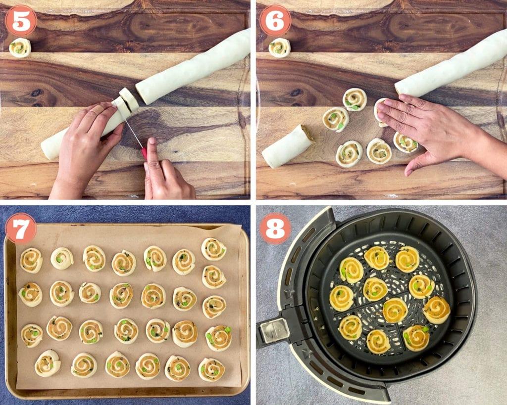 hand slicing rolled samosa pinwheels, hand flattening samosa pinwheel, puff pastry pinwheels on baking sheet, samosa pinwheels in airfryer